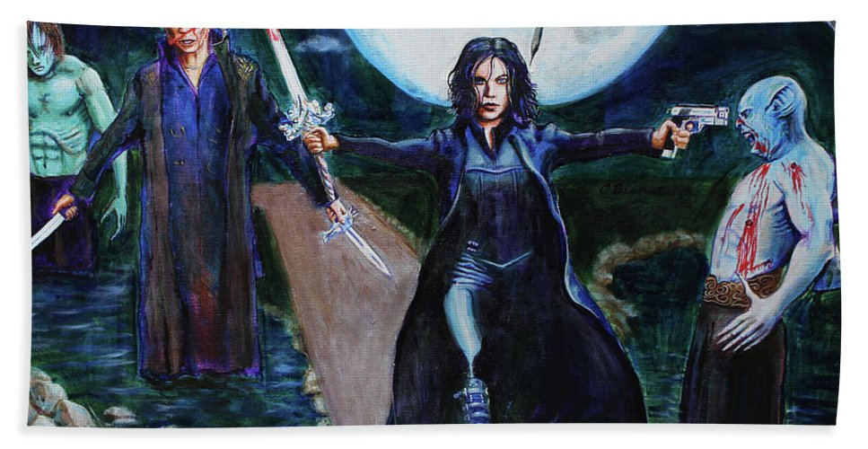 Selene Bath Sheet featuring the painting Underworld Trilogy by Charles Bickel