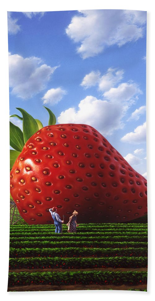 Strawberry Hand Towel featuring the painting Unexpected Growth by Jerry LoFaro
