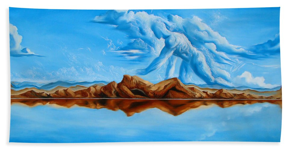 Surrealism Bath Towel featuring the painting Unfinished Business by Darwin Leon