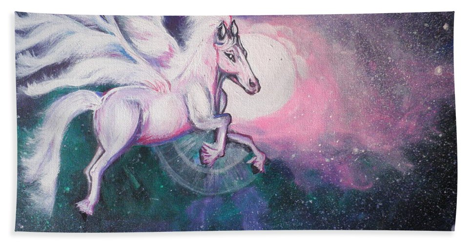 Horse Bath Sheet featuring the painting Unicorn And The Universe by Artist Nandika Dutt