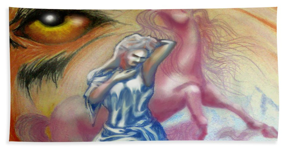 Unicorn Hand Towel featuring the painting Unicorn Dream by Kevin Middleton