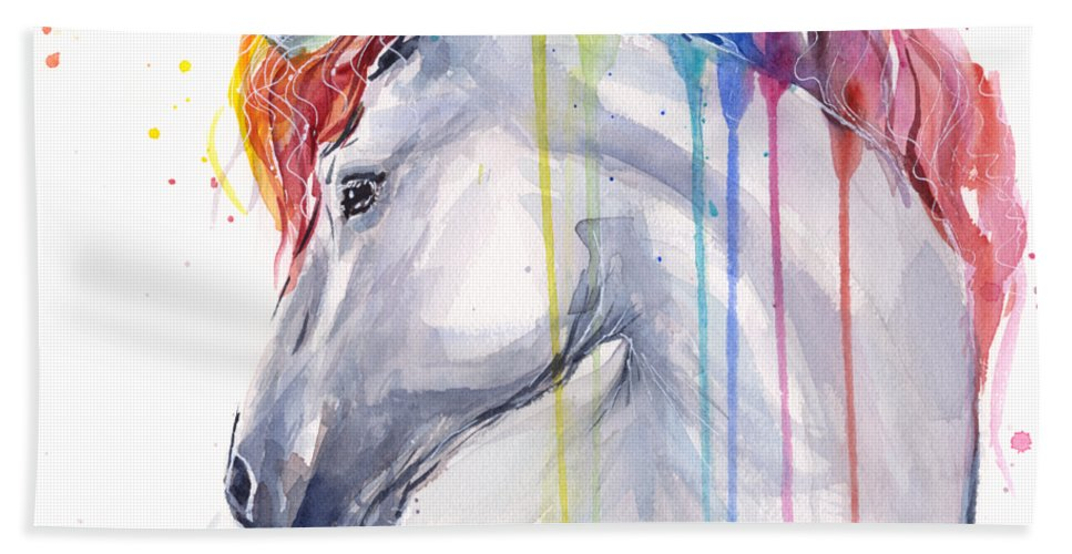 Magical Hand Towel featuring the painting Unicorn Rainbow Watercolor by Olga Shvartsur