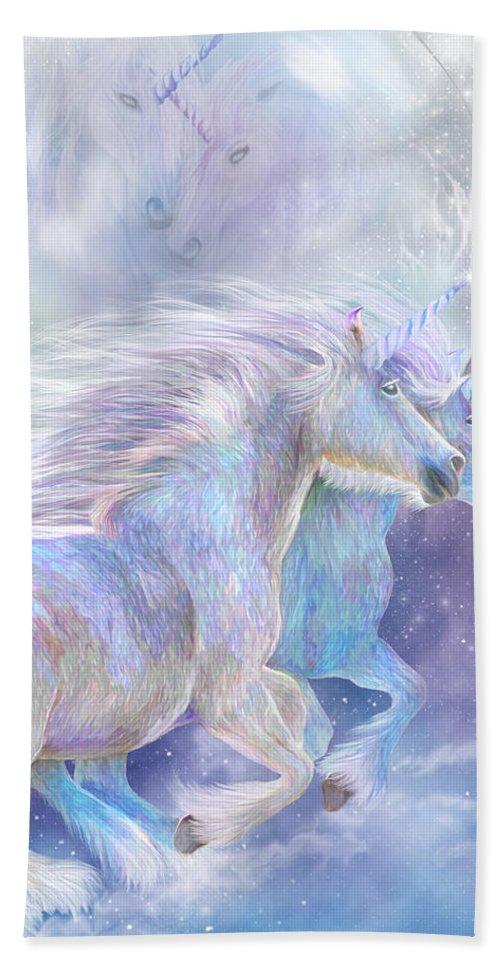 Carol Cavalaris Bath Sheet featuring the mixed media Unicorn Soulmates by Carol Cavalaris