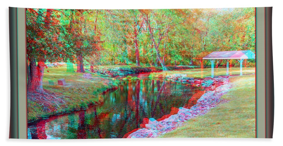 3d Bath Sheet featuring the photograph Unicorn Stream - Use Red-cyan 3d Glasses by Brian Wallace