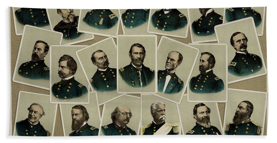 Civil War Hand Towel featuring the photograph Union Commanders Of The Civil War  by Daniel Hagerman