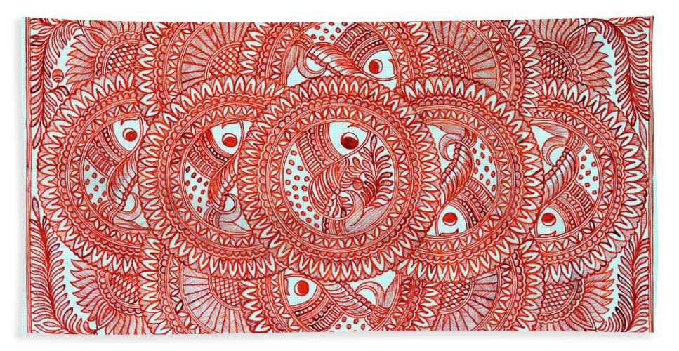 Bath Sheet featuring the painting Union Light Red by Prerna