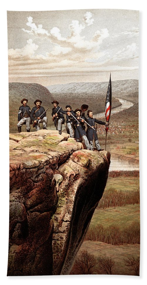 Civil War Bath Sheet featuring the painting Union Soldiers On Lookout Mountain by War Is Hell Store
