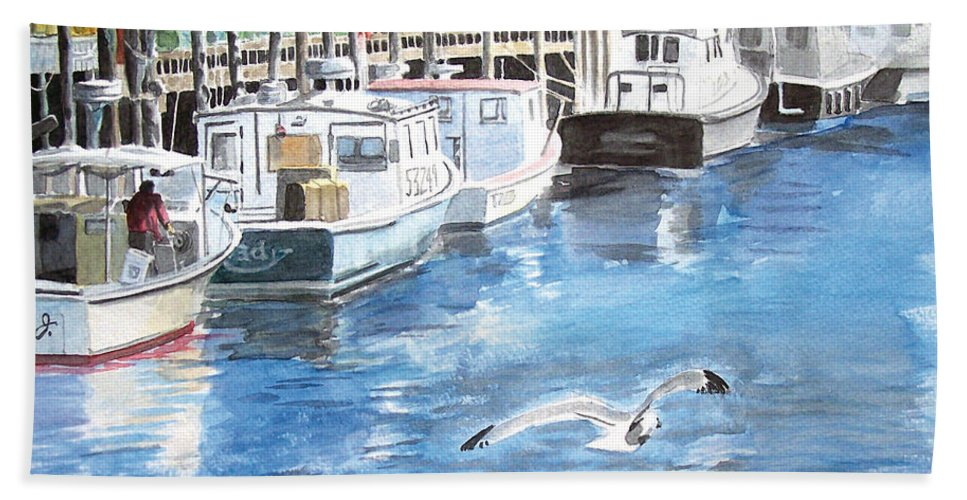 Seagull Hand Towel featuring the painting Union Wharf by Dominic White