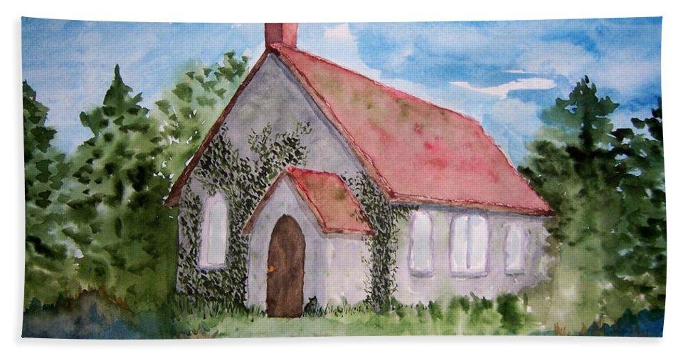 Church Bath Sheet featuring the painting Unitarian Church by B Kathleen Fannin