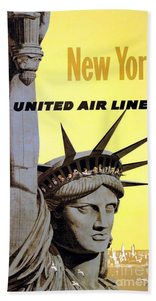 United Airlines Hand Towel featuring the painting United Airlines by Pd