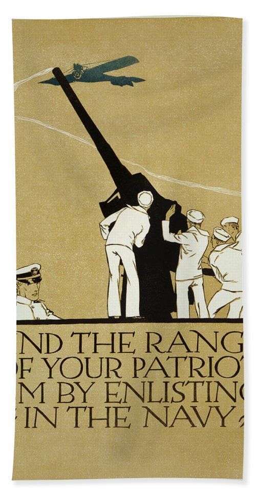 United States Navy Recruitment Poster From 1918. Note The Appeal To Patriotism. Hand Towel featuring the painting United States Navy Recruitment Poster From 1918 by Celestial Images