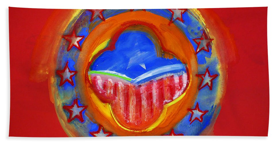 Symbol Hand Towel featuring the painting United States Of Europe by Charles Stuart