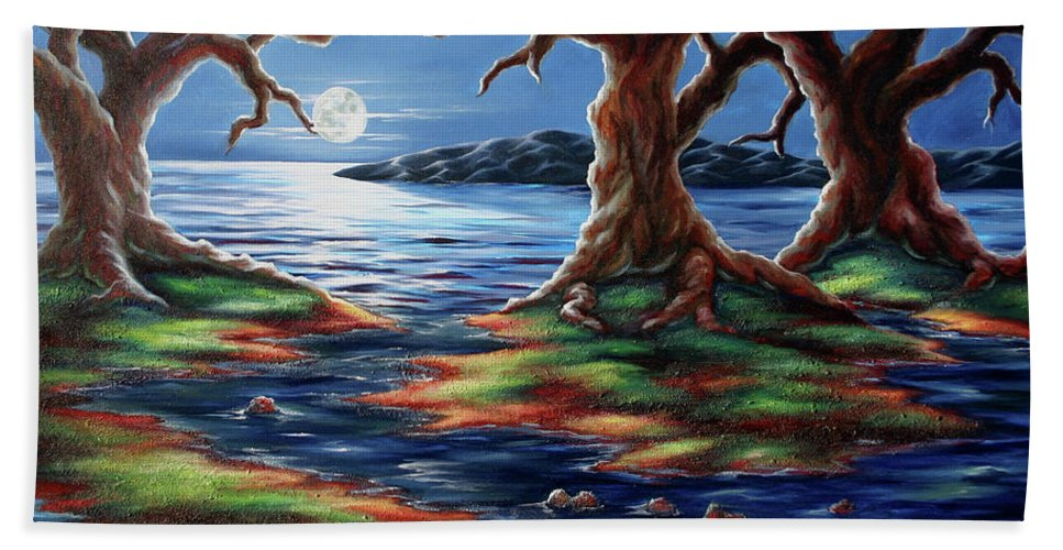 Textured Painting Hand Towel featuring the painting United Trees by Jennifer McDuffie