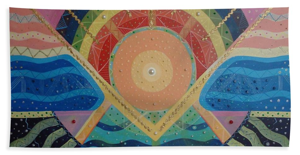 Unity Hand Towel featuring the mixed media Unity I Oneness by Helena Tiainen