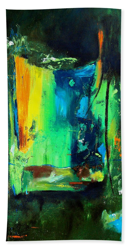 Abstract Hand Towel featuring the painting Unity In The Body by Ruth Palmer