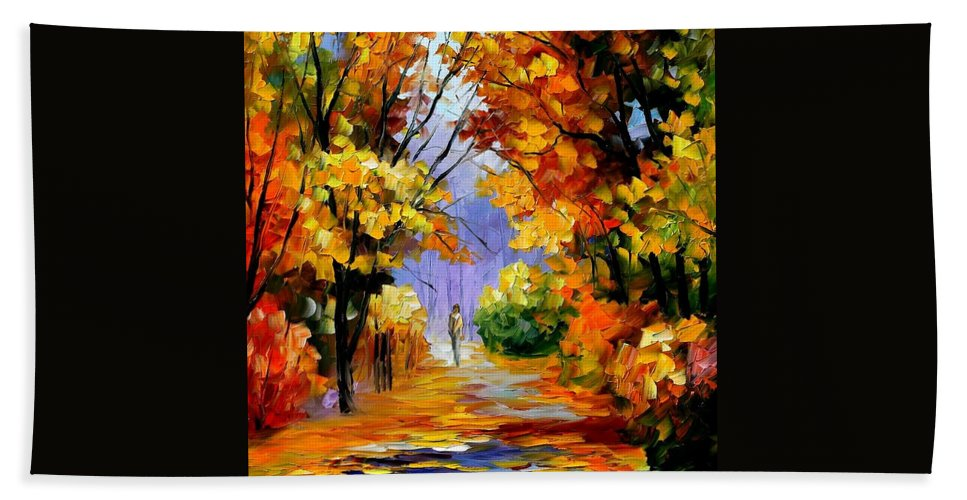 Afremov Bath Sheet featuring the painting Unity With Nature by Leonid Afremov