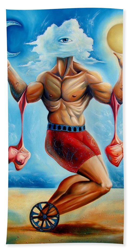 Surrealism Hand Towel featuring the painting Universal Acrobat by Darwin Leon