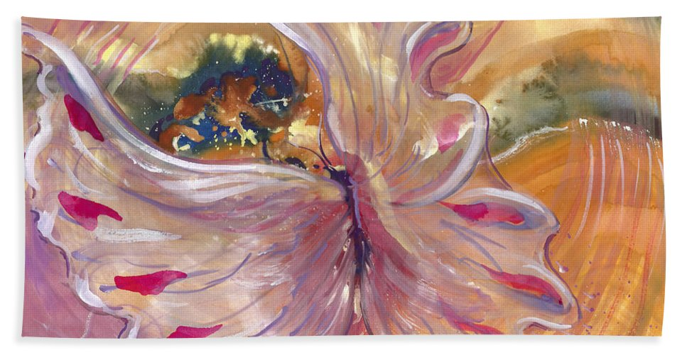 Universal Cacoon Hand Towel featuring the painting Universal Cacoon by Sheri Jo Posselt