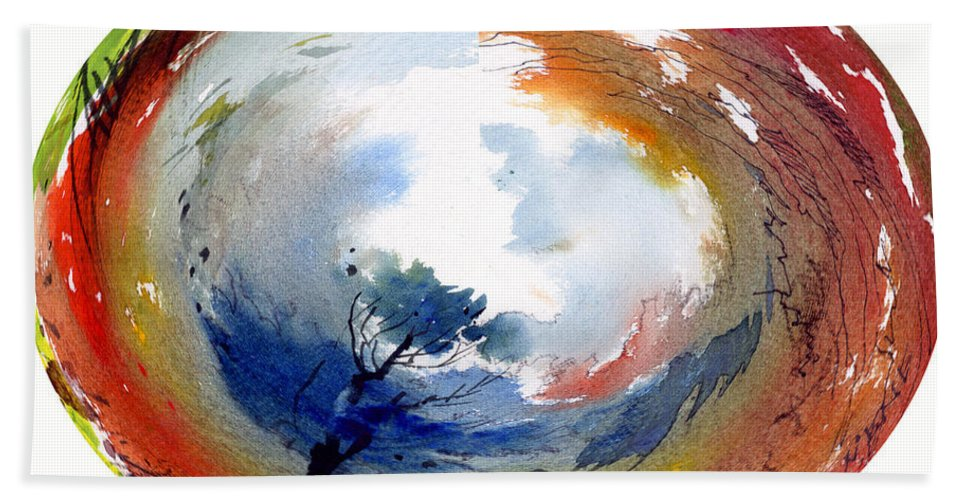 Landscape Water Color Watercolor Digital Mixed Media Bath Sheet featuring the painting Universe by Anil Nene