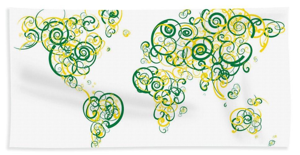 Globe Bath Sheet featuring the digital art University Of Alberta Colors Swirl Map Of The World Atlas by Jurq Studio