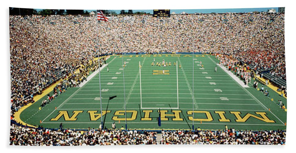 Photography Hand Towel featuring the photograph University Of Michigan Stadium, Ann by Panoramic Images