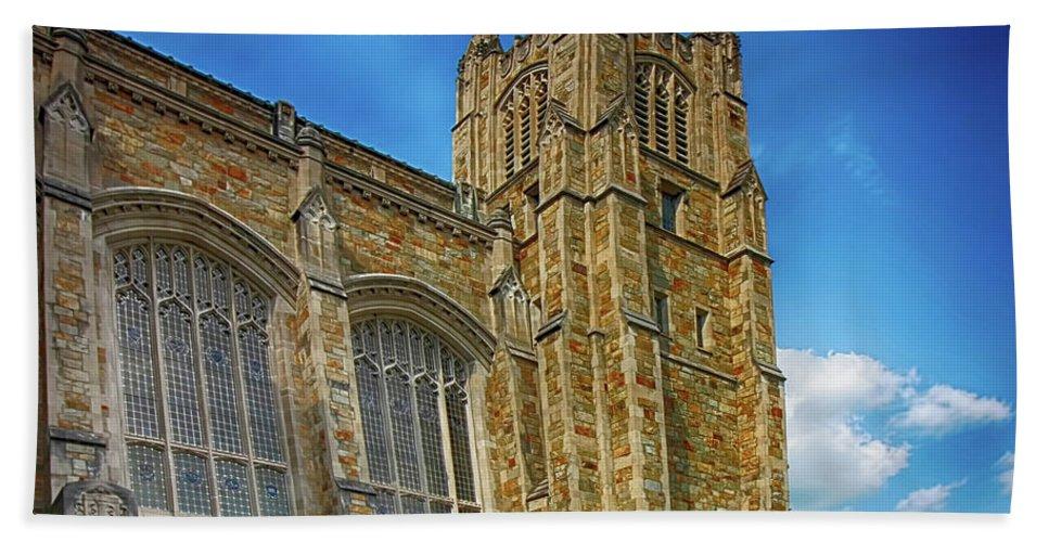 Ann Arbor Bath Sheet featuring the photograph University Of Michigan Ann Arbor by Pat Cook