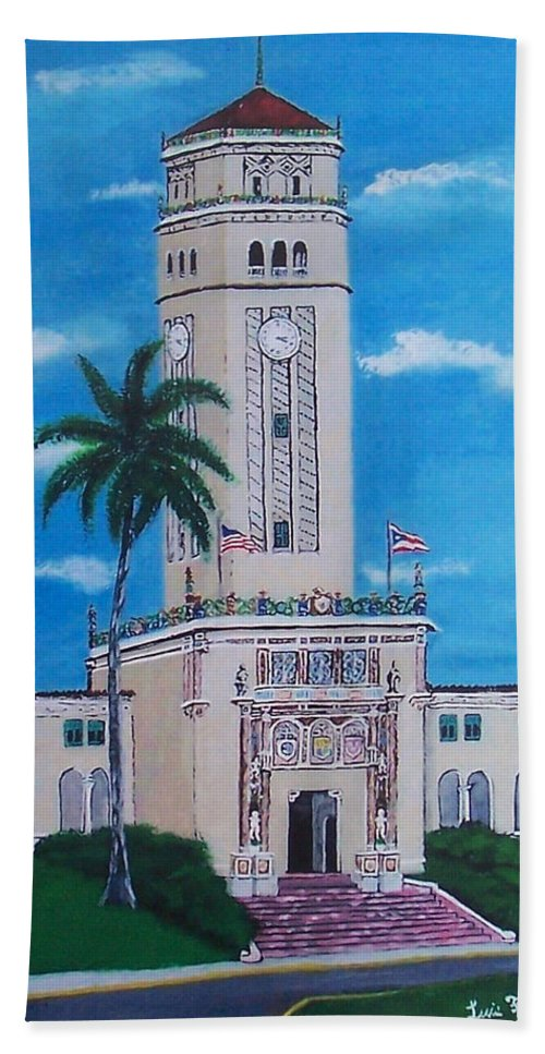 Rio Piedras Hand Towel featuring the painting University Of Puerto Rico Tower by Luis F Rodriguez