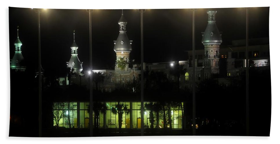 University Of Tampa Bath Sheet featuring the photograph University Of Tampa Lights by David Lee Thompson