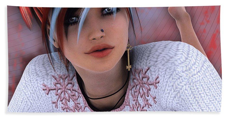 3d Hand Towel featuring the digital art Unlock My Heart by Jutta Maria Pusl
