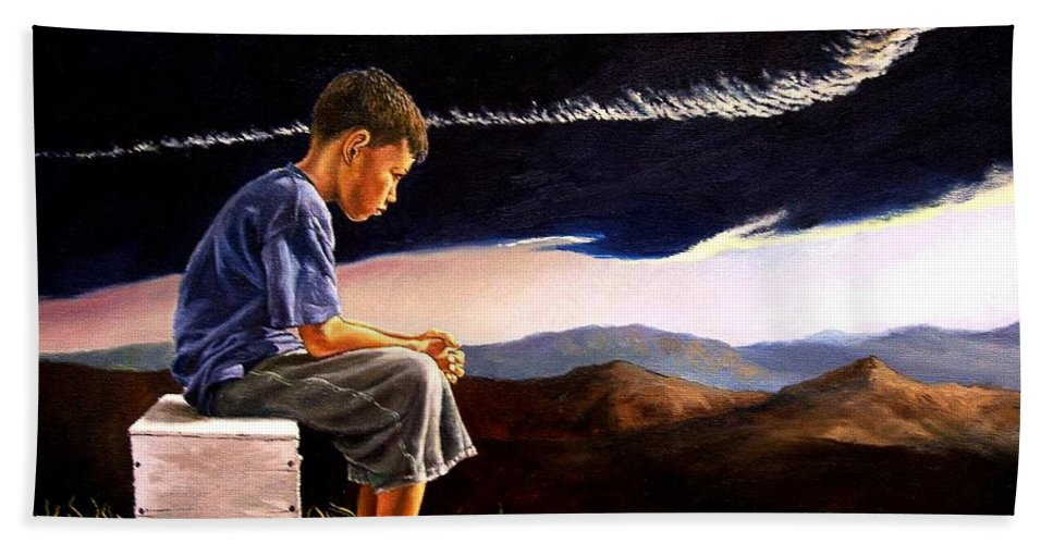 Mountain Hand Towel featuring the painting Unscarred Mountain by Christopher Shellhammer