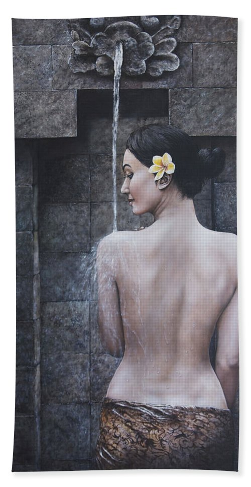 Woman Bath Sheet featuring the painting Untamed Beauty by Jan Camerone