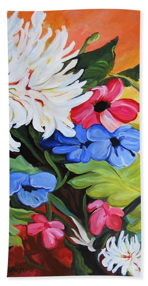 Florals Hand Towel featuring the painting Untitled by Brenda Kinchen