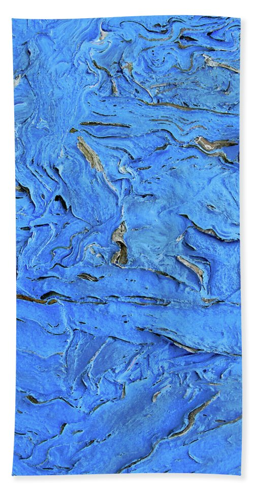 Abstract Bath Sheet featuring the photograph Untitled-weathered Wood Design In Blue by Kathy Moll