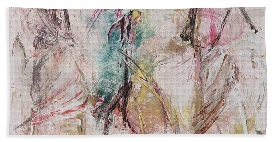 Abstract Bath Sheet featuring the painting Untitled by Ikahl Beckford