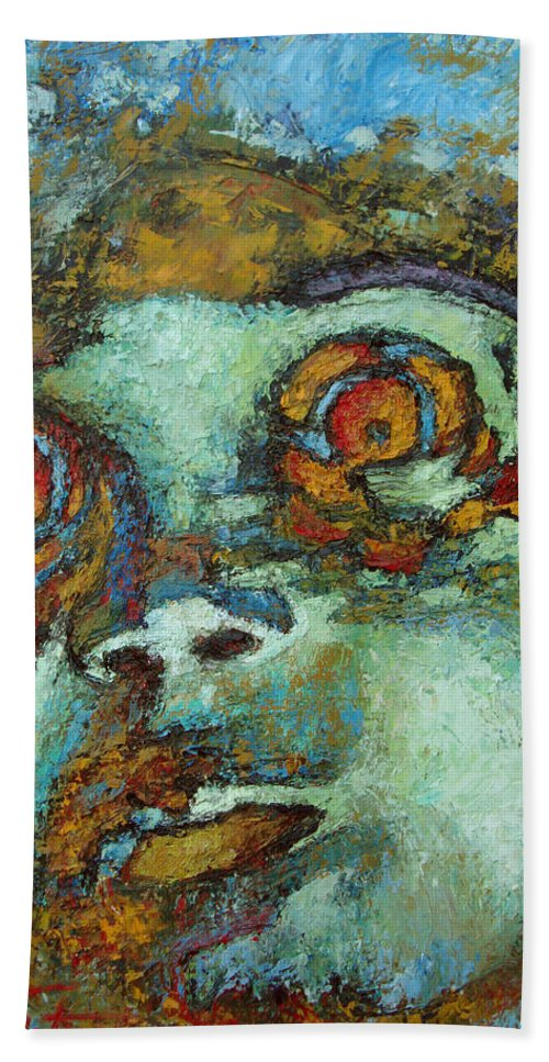 Oil Hand Towel featuring the painting Untitled by Ioulia Sotiriou