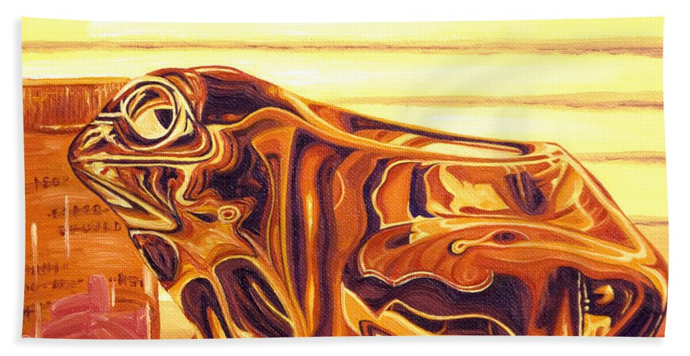 Frog Bath Sheet featuring the painting Untitled by Judy Henninger