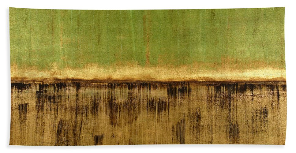Green Hand Towel featuring the painting Untitled No. 12 by Julie Niemela