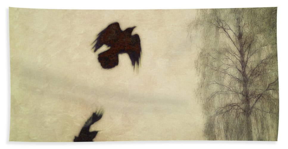 Raven Hand Towel featuring the photograph Untitled by Priska Wettstein