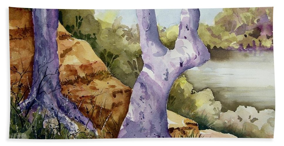 Tree Bath Sheet featuring the painting Untitled by Sam Sidders
