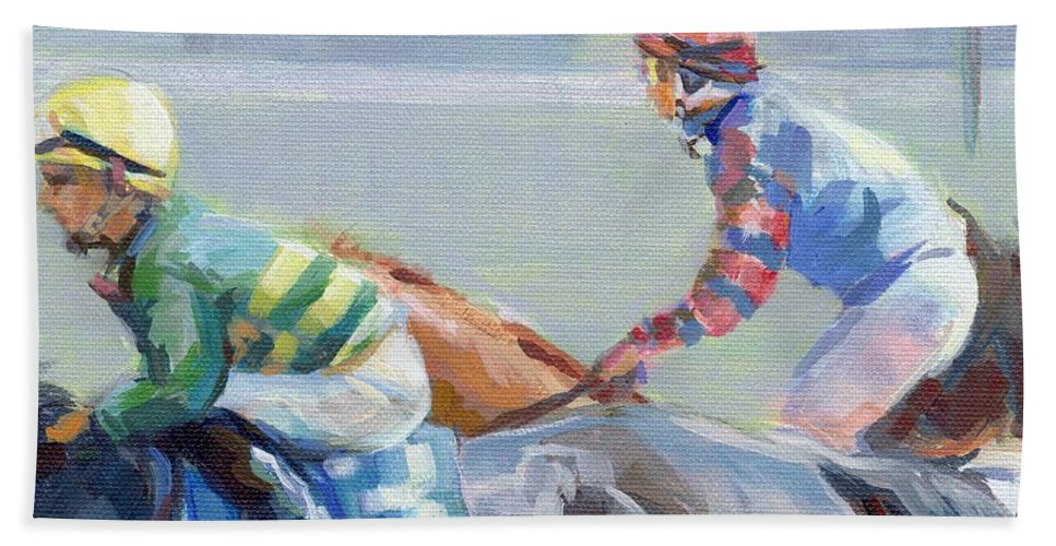 Horse Racing Hand Towel featuring the painting Untitled Saratoga by Kimberly Santini
