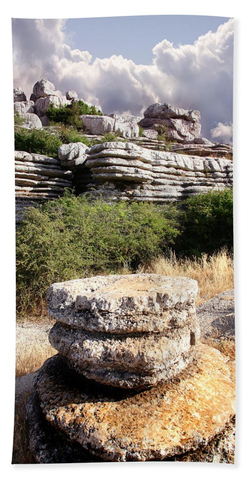Limestone Bath Towel featuring the photograph Unusual Rock Formations In The El Torcal Mountains Near Antequera Spain by Mal Bray