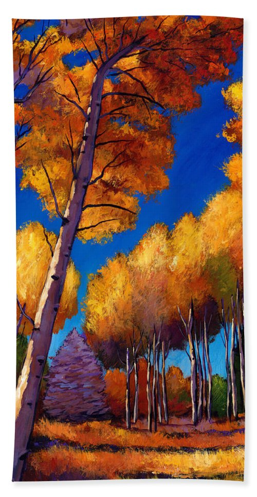 Autumn Aspen Bath Towel featuring the painting Up And Away by Johnathan Harris