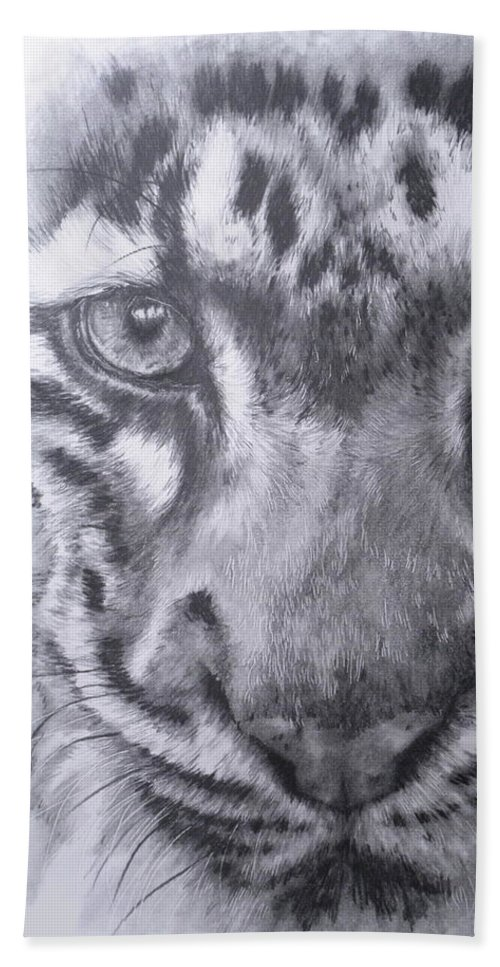 Clouded Leopard Hand Towel featuring the drawing Up Close Clouded Leopard by Barbara Keith