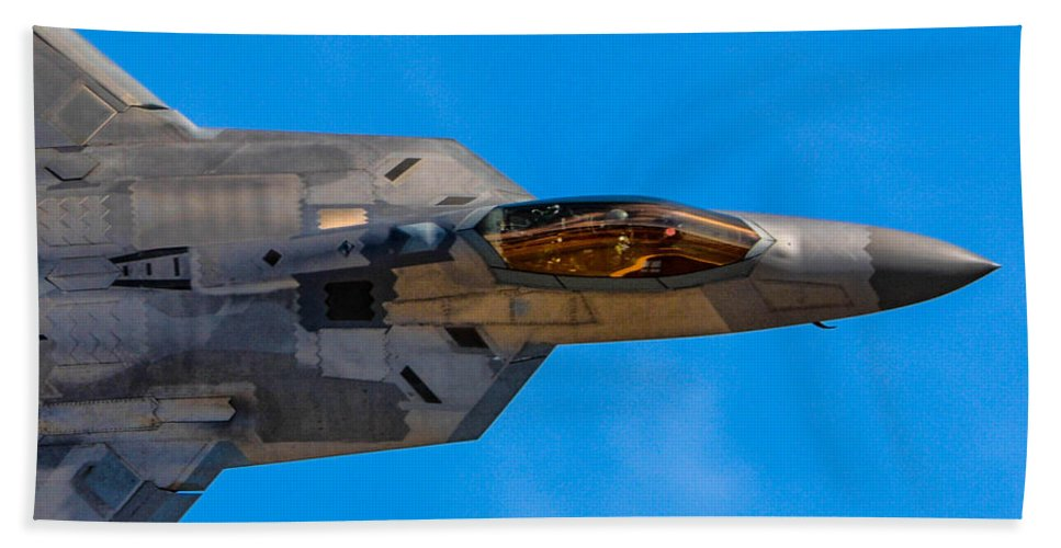 California Hand Towel featuring the photograph Up Close F-22 Raptor by Tommy Anderson