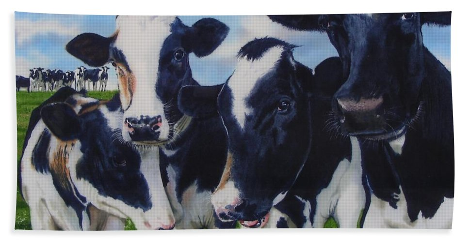 Cows Hand Towel featuring the painting Up Front by Denny Bond