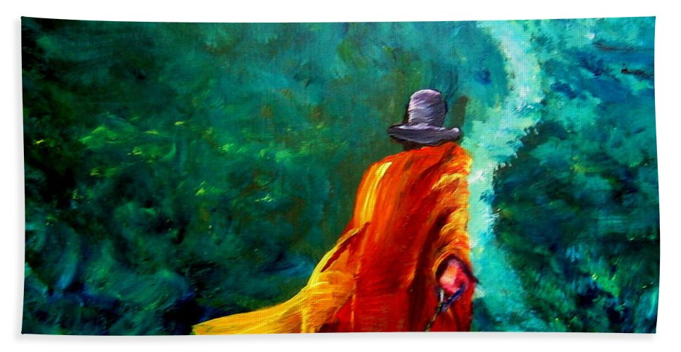 Expressionist Bath Towel featuring the painting Up That Hill by Jason Reinhardt
