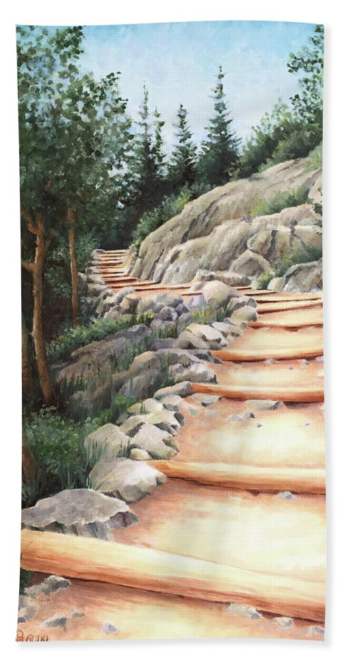 Landscape Bath Towel featuring the painting Up the Mountain by Teri Rosario