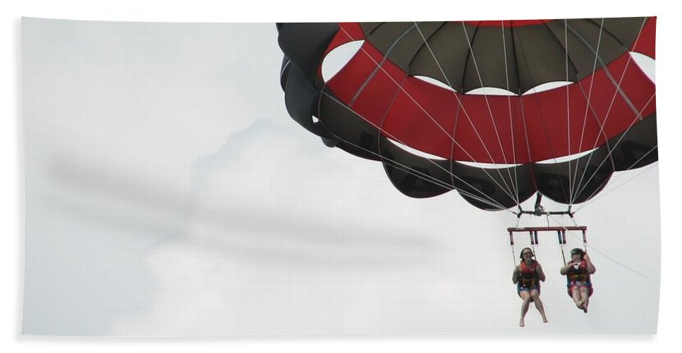 Parasail Hand Towel featuring the photograph Up Up And Away by Kelly Mezzapelle
