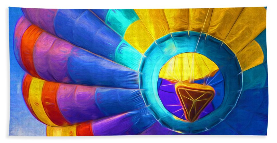 Hot Air Balloon Bath Sheet featuring the photograph Up Up And Away by TK Goforth
