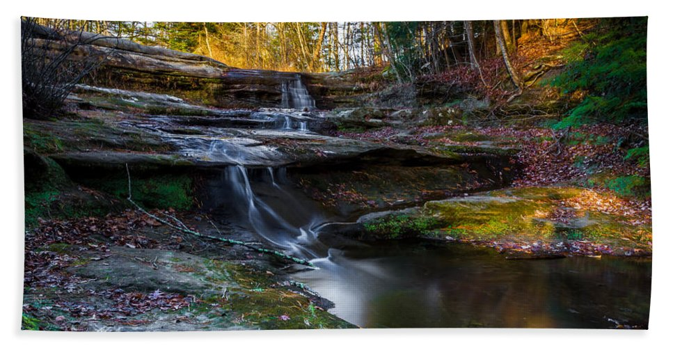 Ohio Bath Sheet featuring the photograph Upper Falls Cascades by Ron Pate